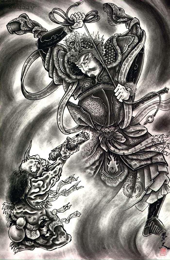 Злобные демоны на эскизах татуировок японского художника Horiyoshi (11)