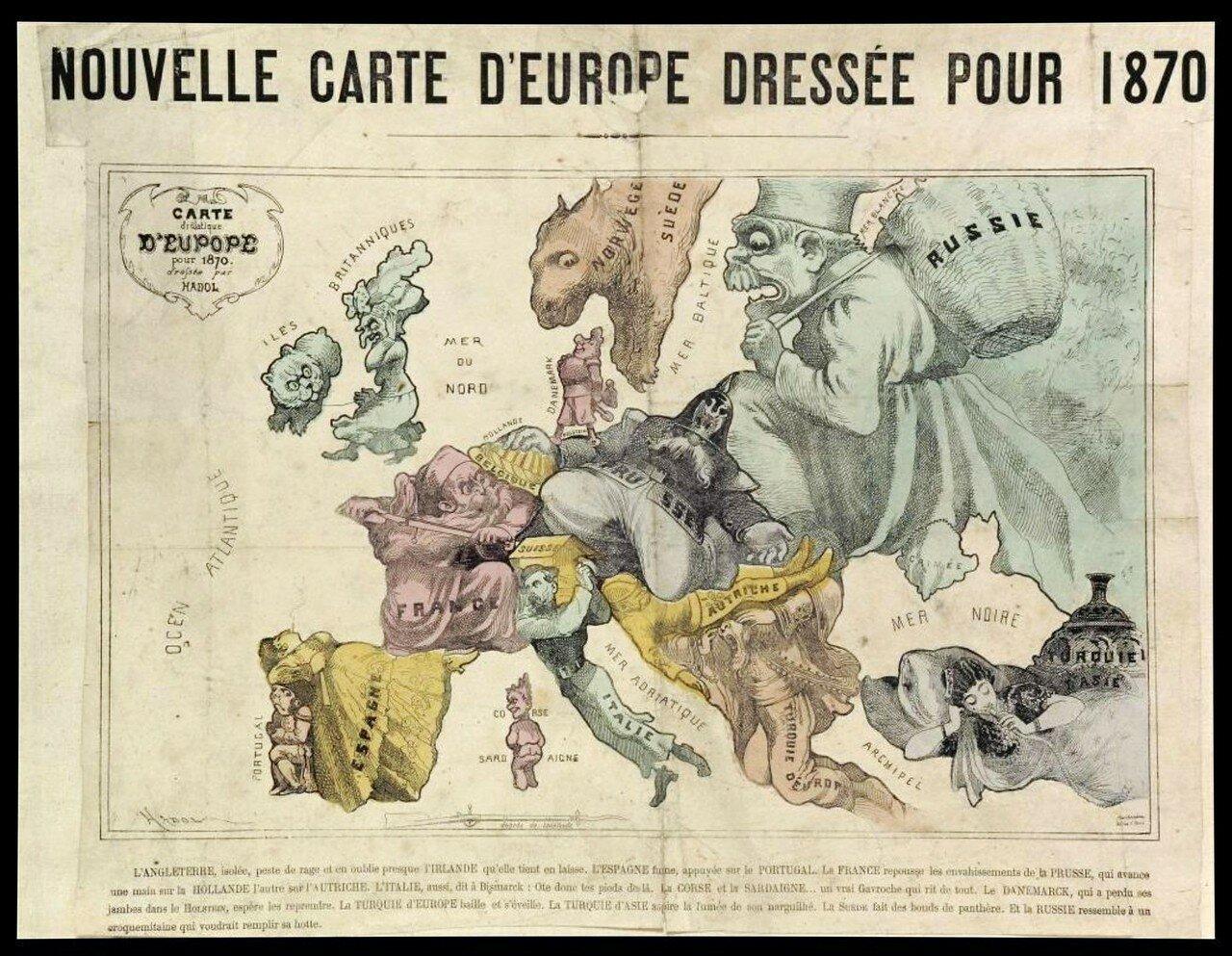 1870. «Сатирическая карта Новой Европы», Париж