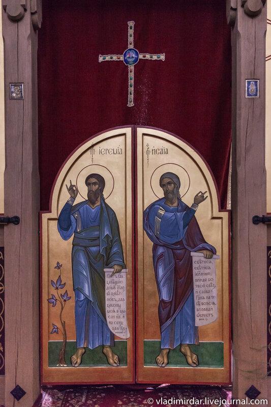 Икона пророков Исайи и Иеремии на царских вратах иконостаса Храма Преображения