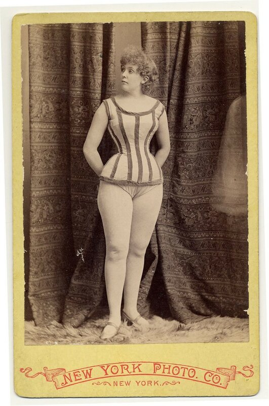 1890. Rose Hamilton in a short costume, shoes with strap over the instep
