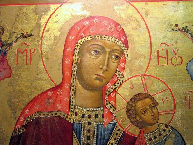 Страстная икона Божией Матери. Первая половина XIX века. Фрагмент.