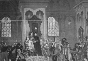 """""""Венчание на царство Михаила Романова"""" - сцена из постановки живых исторических картин."""