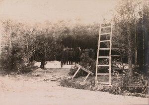 Солдаты и офицеры отряда за подготовкой маскировки ангаров с аэропланами в лесу.