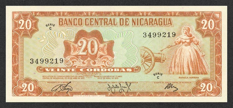 Никарагуа, 20 кордобас, 1972