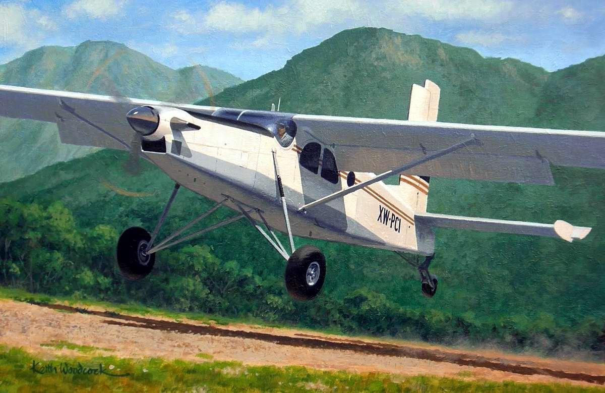 Самолет Pilatus Turbo Porter американской авиакомпании Continental Air Services во время посадки на территории Лаоса, 1969 год - Keith Woodcock, 2010 год