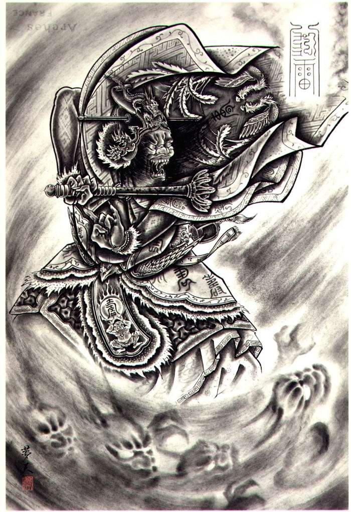 Злобные демоны на эскизах татуировок японского художника Horiyoshi (14)