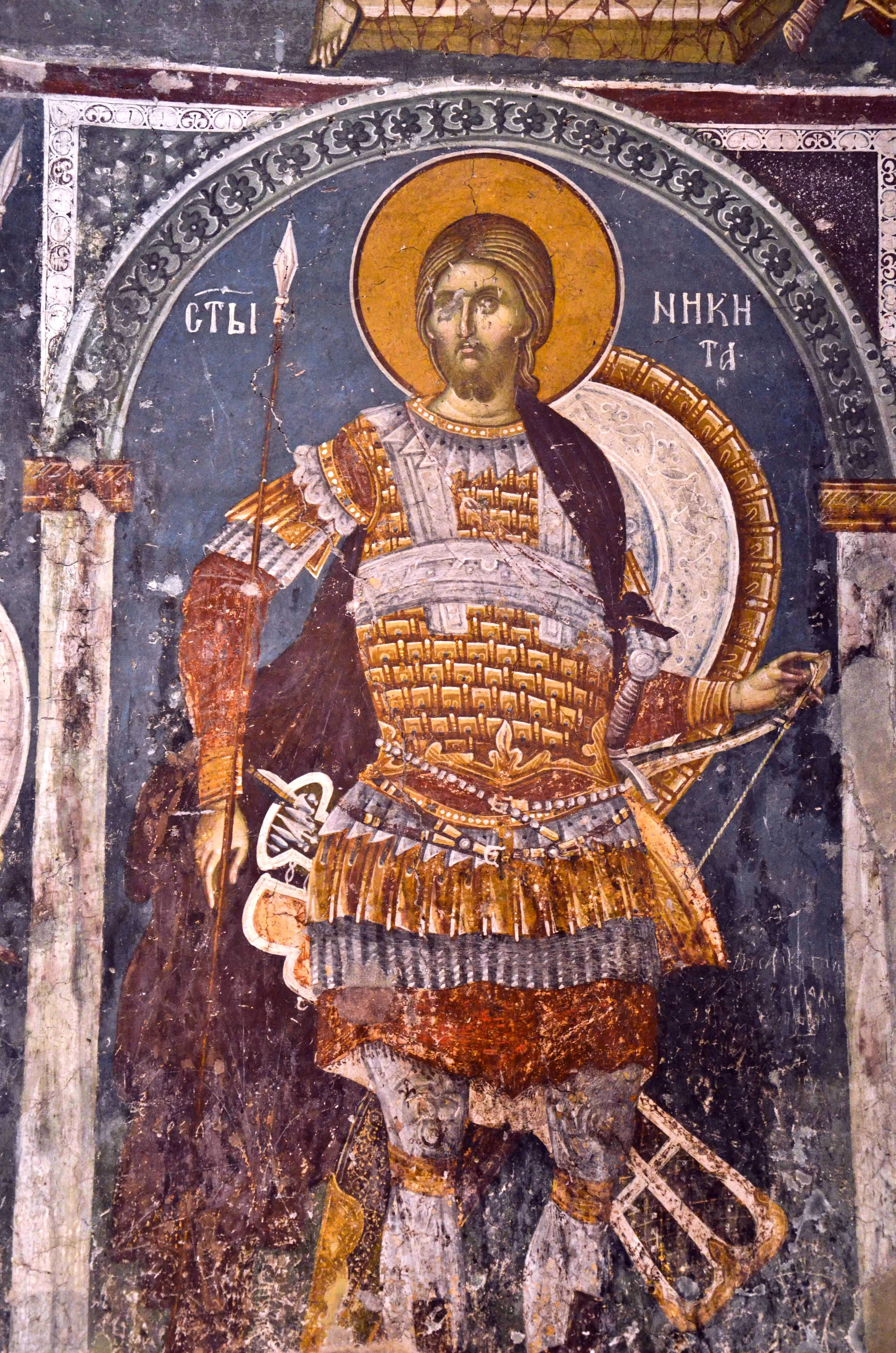 Святой Великомученик Никита. Фреска в церкви Св. Никиты в Чучере, Македония. Около 1316 года. Иконописцы Михаил Астрапа и Евтихий.
