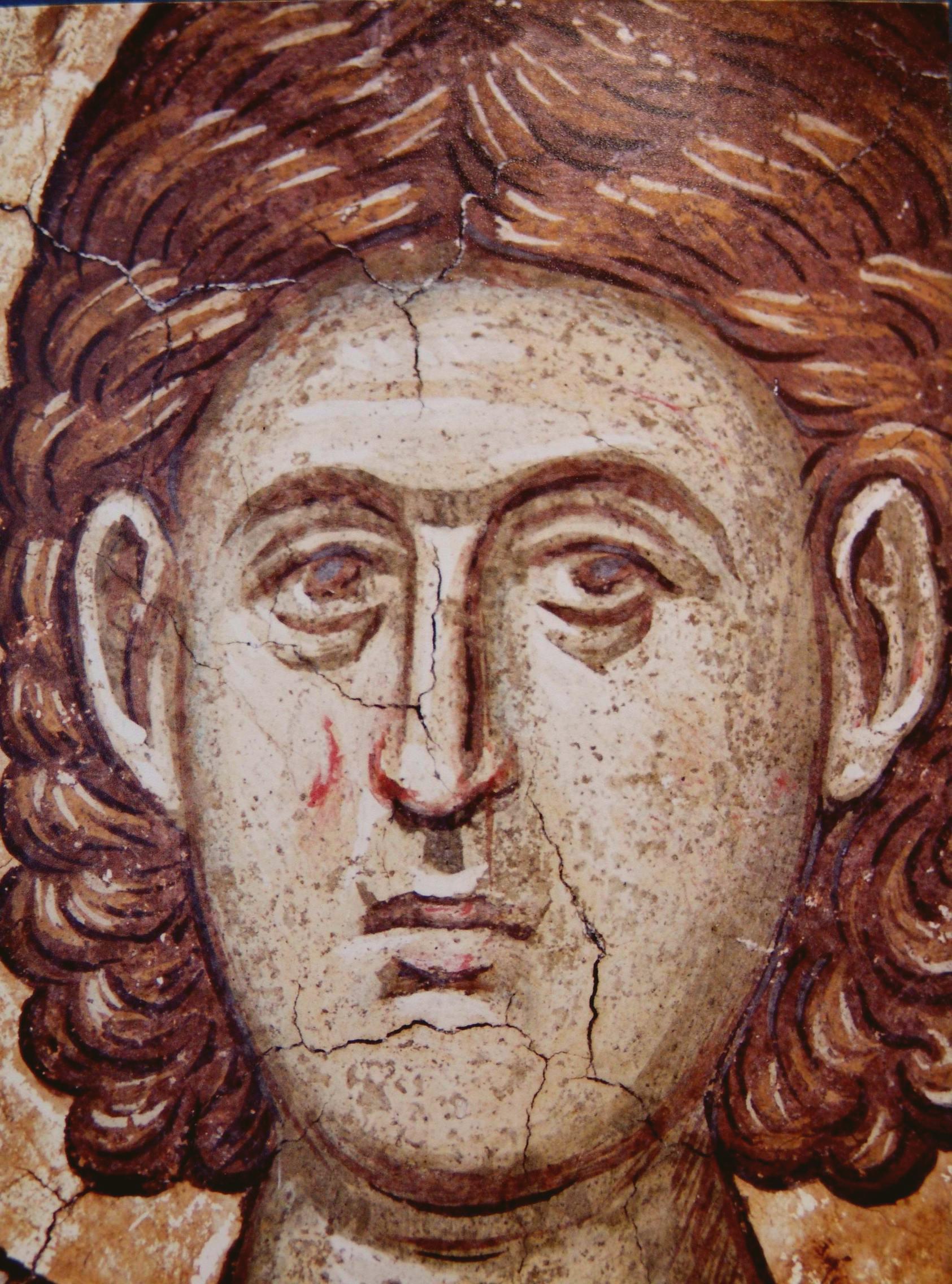 Святой мученик Каллистрат Византийский. Фреска монастыря Высокие Дечаны, Косово, Сербия. Около 1350 года.