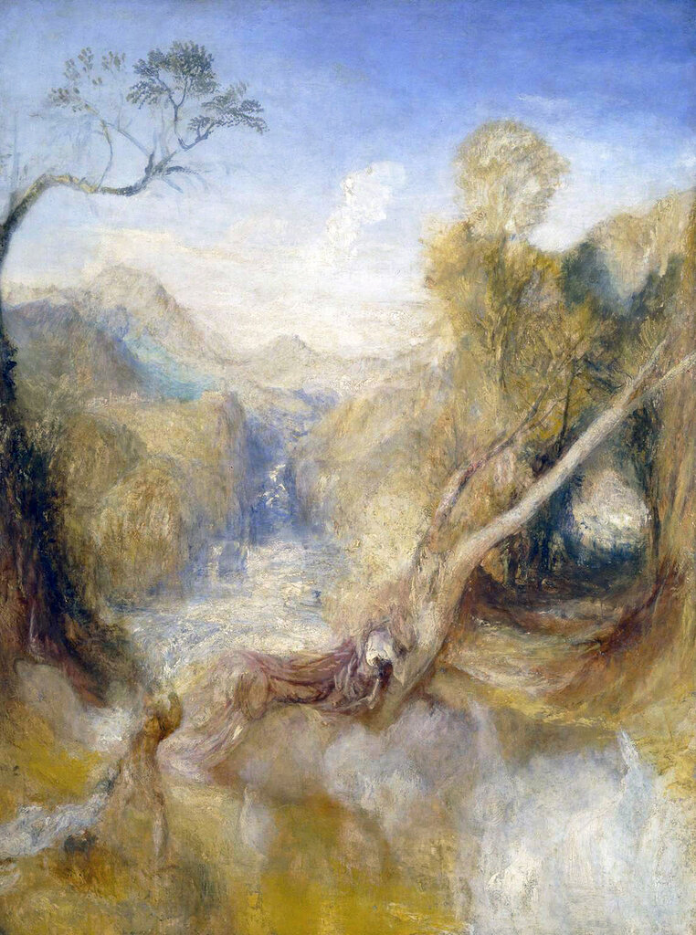 The Death of Actaeon, with a Distant View of Montjovet, Val d'Aosta circa 1837 Joseph Mallord William Turner 1775-1851 Accepted by the nation as part of the Turner Bequest 1856 http://www.tate.org.uk/art/work/A00909