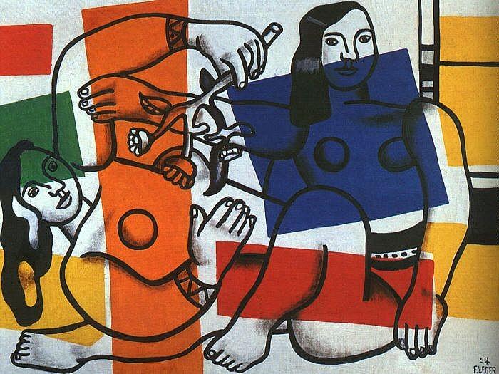 Фернан Леже (Fernand Leger). Две женщины с цветами. 1954