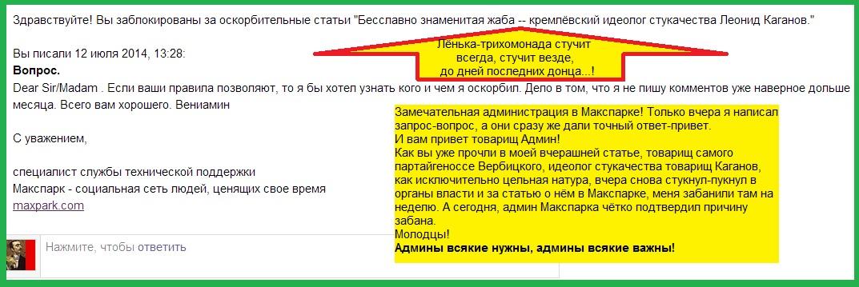 Каганов, Макспарк, пост, админ