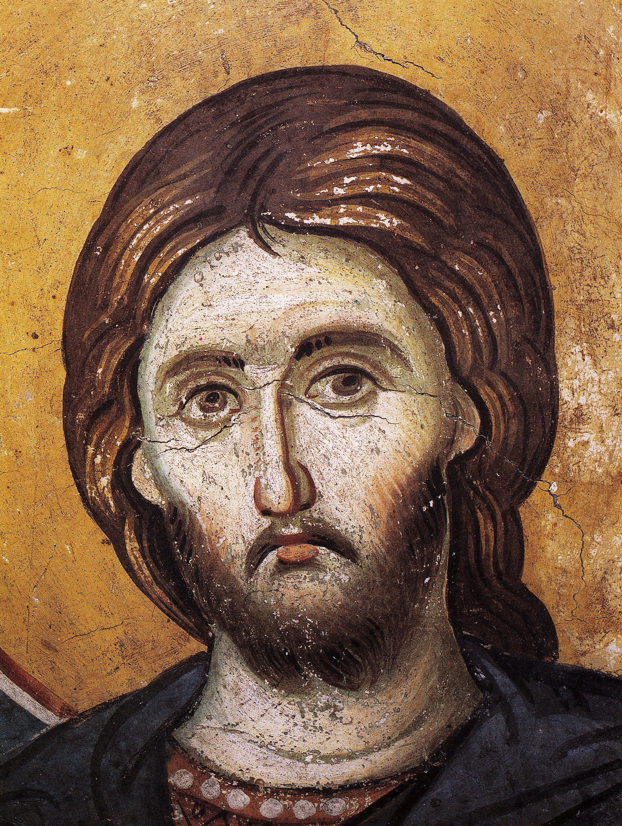 Святой Великомученик Никита. Фреска конца XIII века в монастыре Протат на Афоне. Иконописец Мануил Панселин.