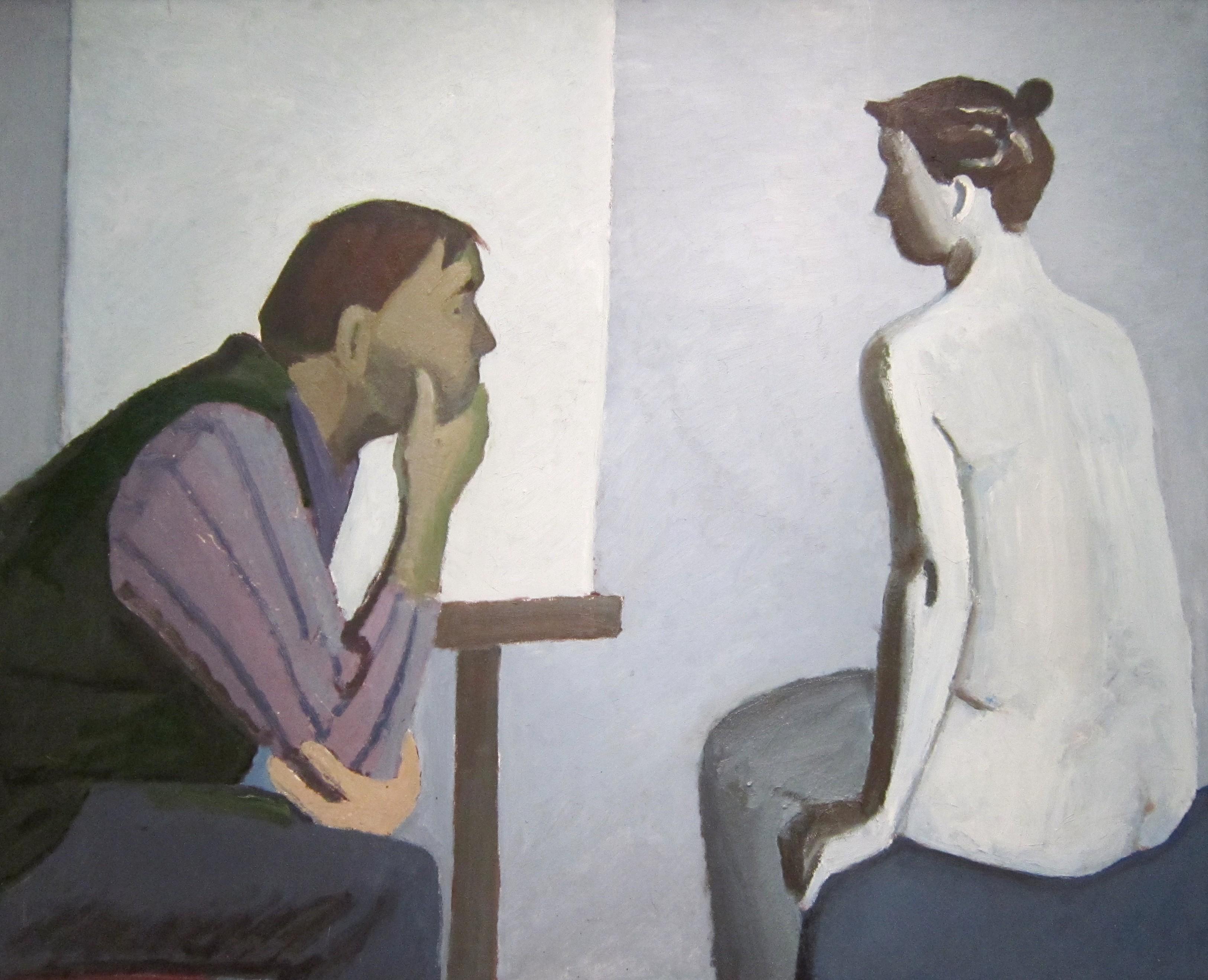 Тимофей Фёдорович Теряев (1919-2001 г.г.). Художник и модель. 1988 год.