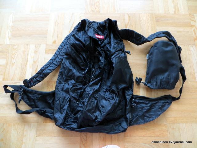 Это легкий рюкзачок HALTI для ежедневных походов, который прочен, вместителен и складывается в мешочек