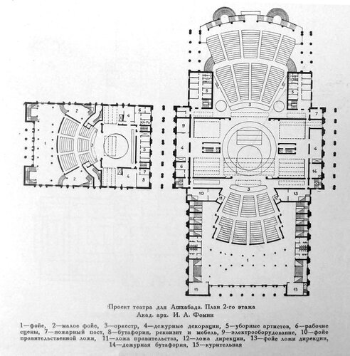 Конкурсный проект здания для театра в Ахшабаде академика архитектуры И. А. Фомина и архитектора М. Л. Минкуса