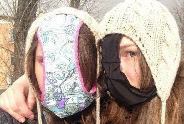 селфи девушек с трусами на голове
