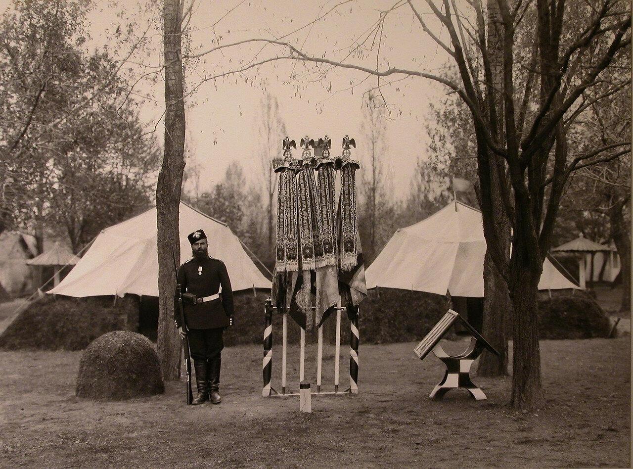 13.  Солдат у полковых знамен, украшенных юбилейными лентами