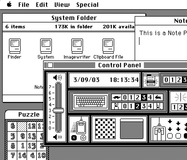 Рабочий стол с приложениями Mac OS 1.1