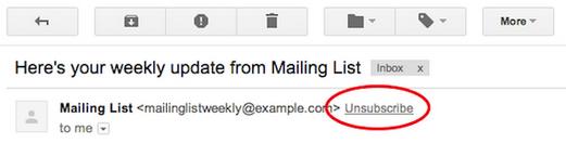 Почта Gmail запустила кнопку «Unsubscribe», позволяющую легко отписываться от рассылок