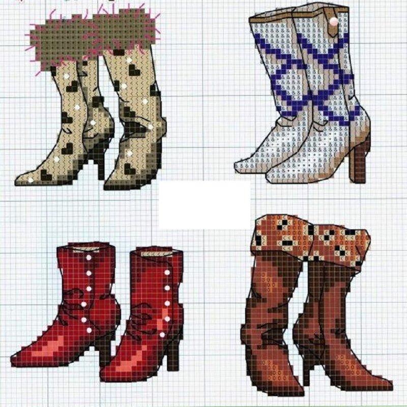 Схемы для вышивки обувь