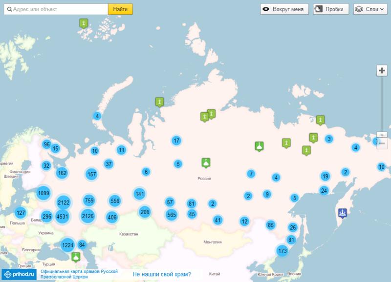 Карта храмов Русской Православной Церкви