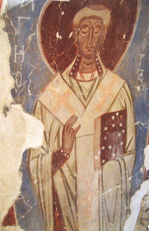Святой Праведный Лазарь Четверодневный, Епископ Китийский. Фреска Николо-Дворищенского собора в Новгороде. XII век.