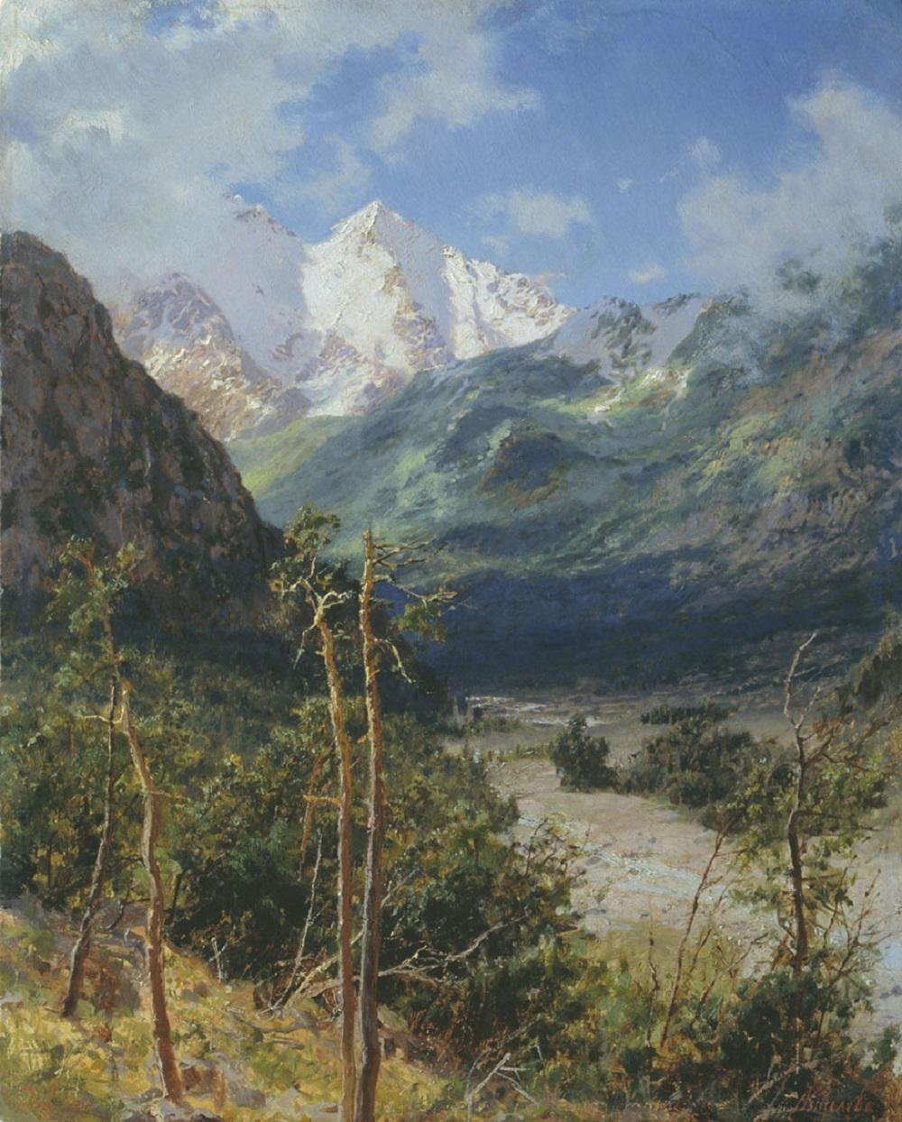 Горный пейзаж. Вершины Эльбруса 1901 картон масло 41 х 33 см Омский областной музей изобразительных искусств им. М.А Врубеля.jpg