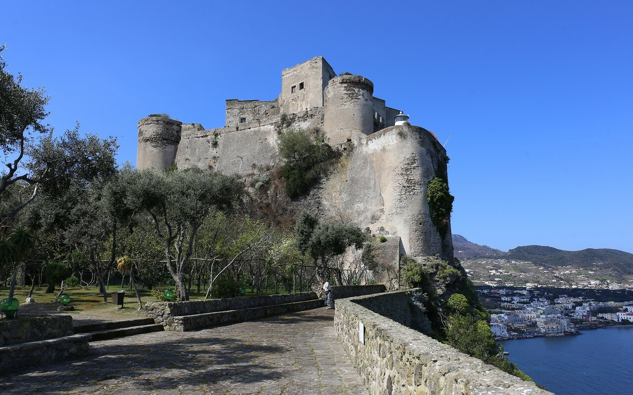 Ischia, the Aragonese castle. Terrace of olive trees