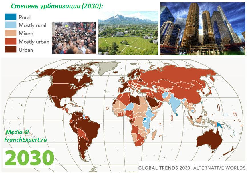 Степень урбанизации в разных странах мира (2030)