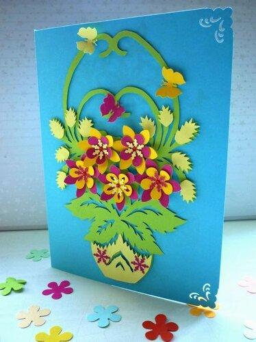 Открытка из бумаги корзина цветов, нарисованные