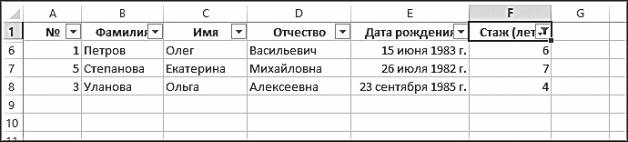 Рис. 5.31. Результат фильтрации по столбцу Стаж