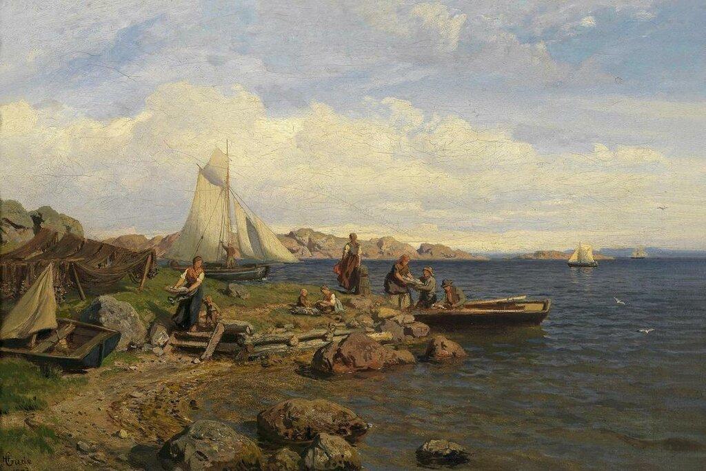 Hans Gude - Fiskerne kommer på land (1878)..jpg