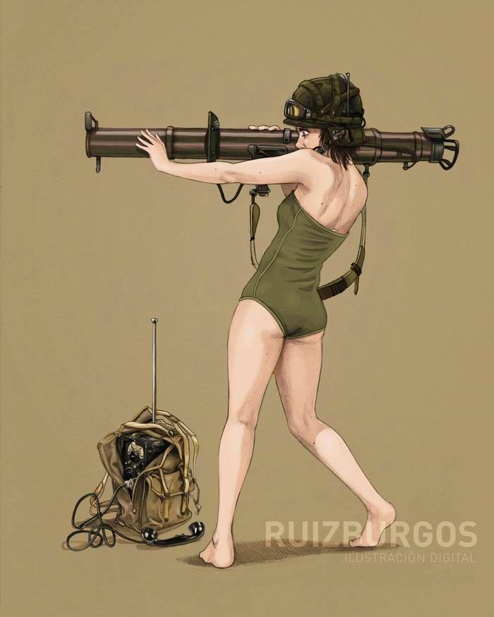Армейский пин-ап разных художников - девушки с оружием (7)