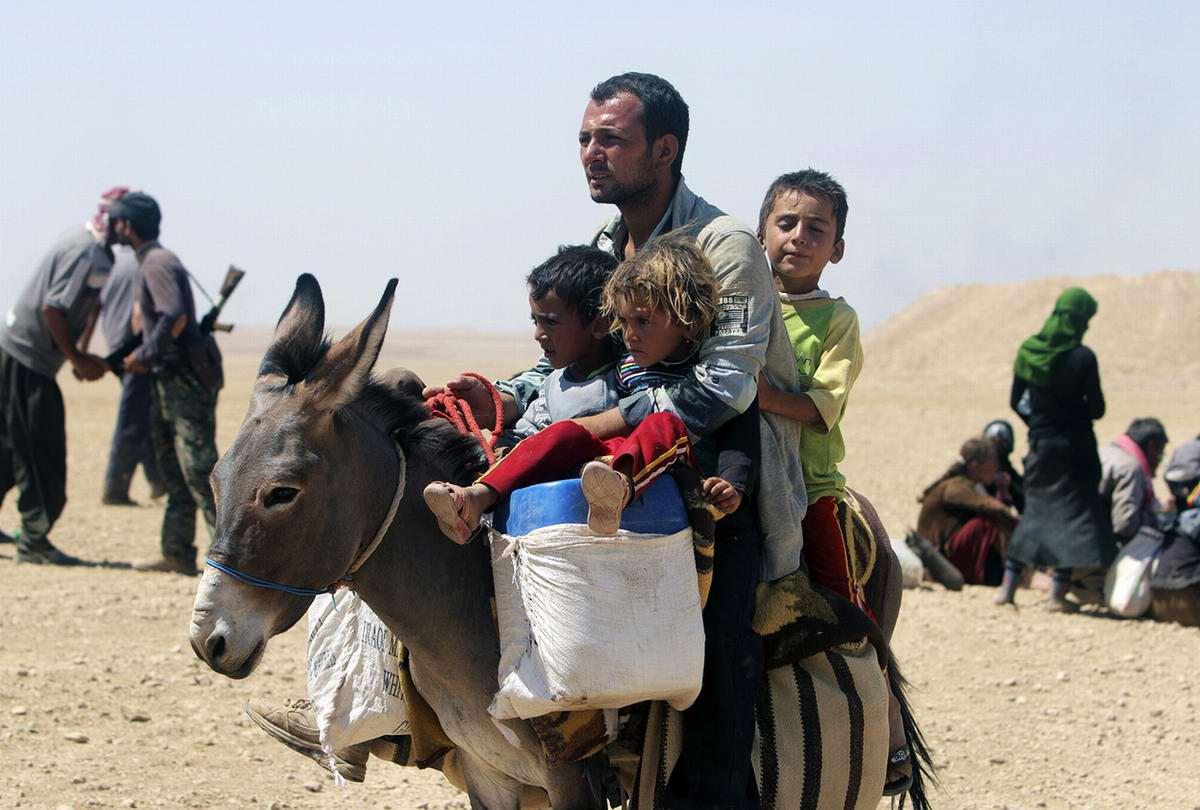 Отец семейства со своими детьми на осле движется в сторону границы в направлении сирийского города Elierbeh