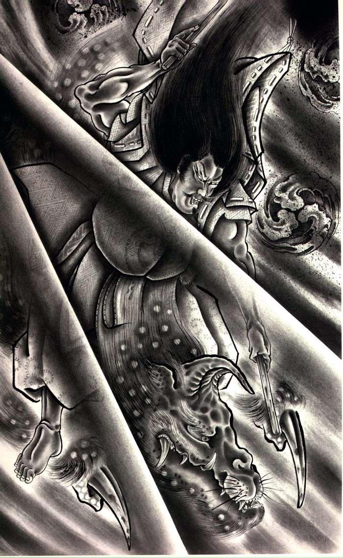 Злобные демоны на эскизах татуировок японского художника Horiyoshi (19)