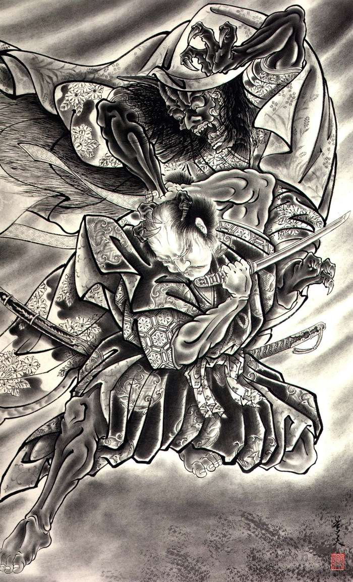 Злобные демоны на эскизах татуировок японского художника Horiyoshi (41)