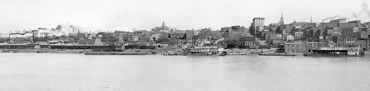 1909. Панорама Миссисипи в районе порта Виксберга