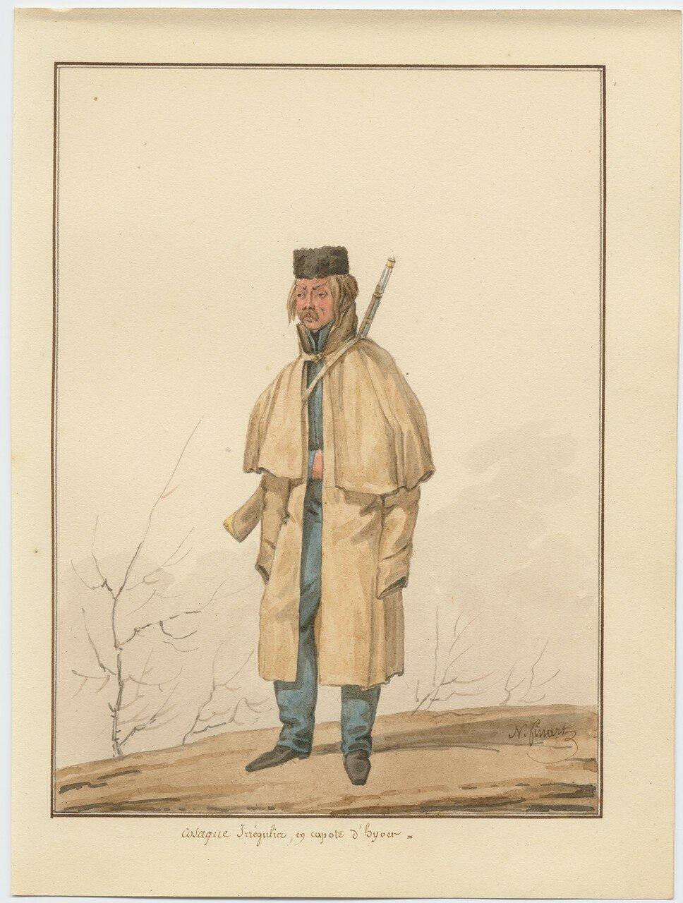 Казак иррегулярного полка в зимнем пальто 1815