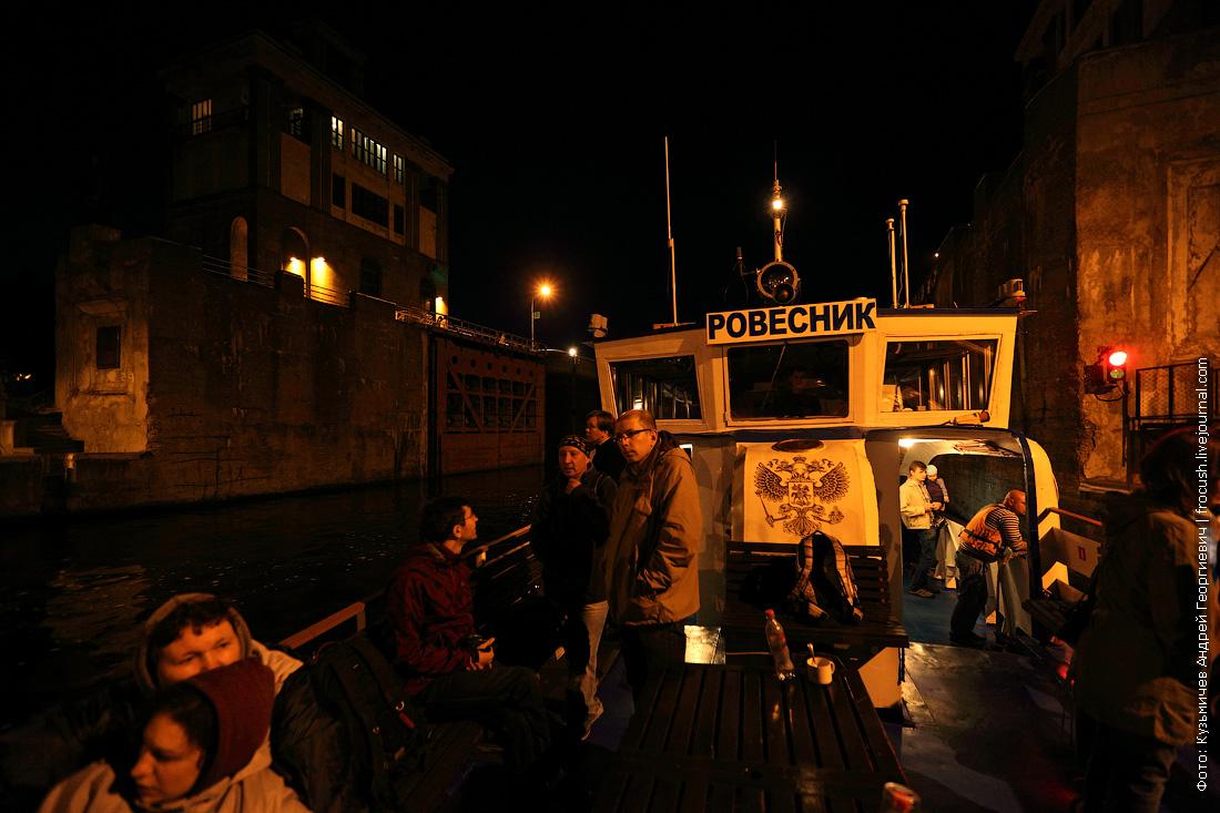 ночное фото шлюз №8 канала имени Москвы