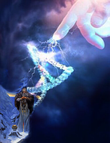 Lightning from pointing hand to double helix (Digital Composite)
