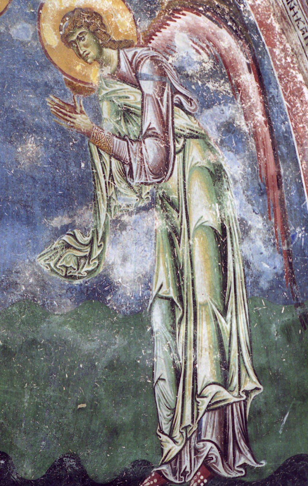 Архангел Гавриил. Фрагмент фрески церкви Св. Георгия в Курбиново, Македония. 1191 год.