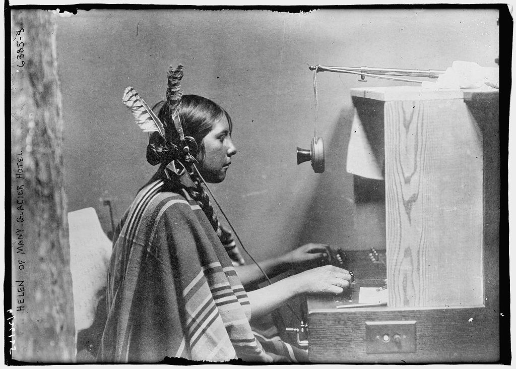 Female Blackfeet Indian telephone switchboard operator - 'Helen of Many Glacier Hotel.', 26 June 1925.jpg