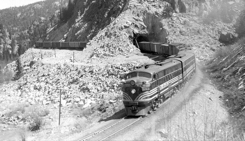 Denver & Rio Grande Western train, engine number 543 + additional diesel unit, engine type EMD FT. near Pinecliff, Colo., April 14, 1947.