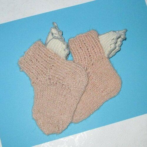 Вязаные носочки «ангелочек»