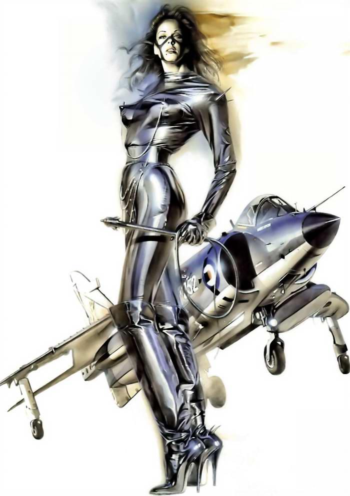 Девушки и самолеты японского художника Hajime Sorayama (32)