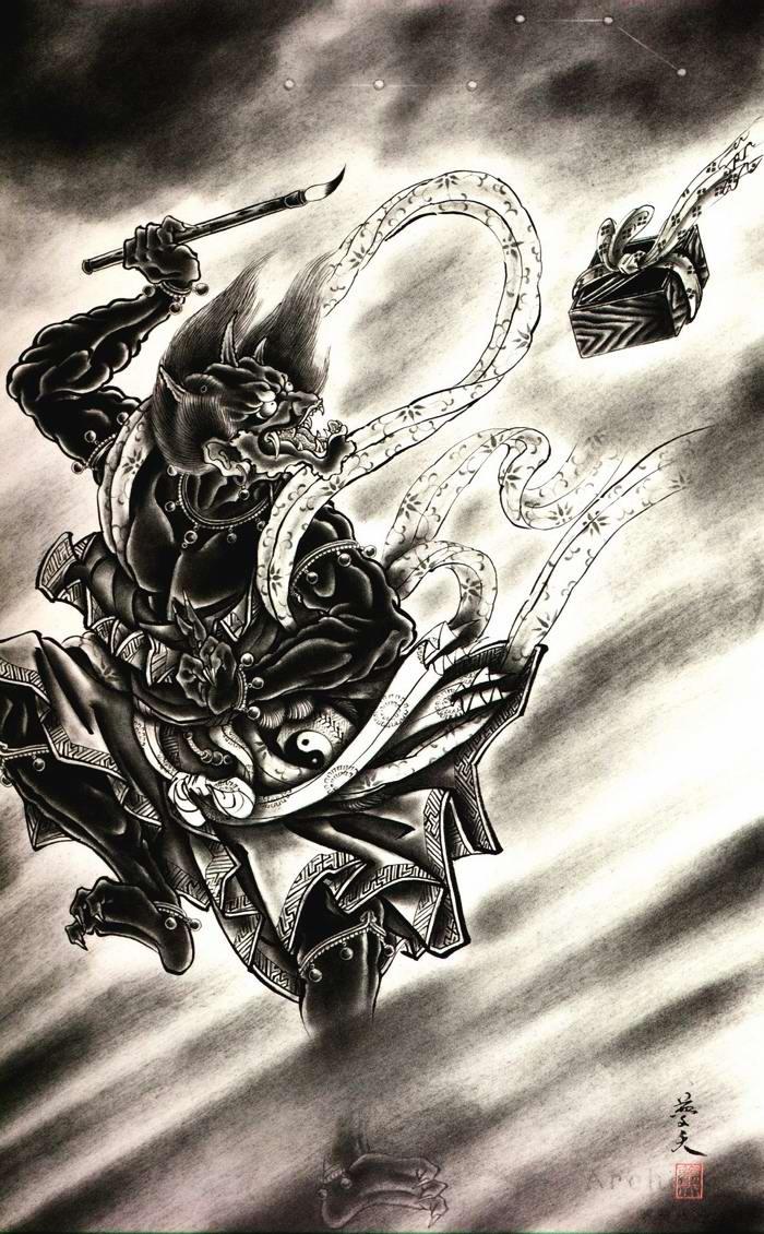 Злобные демоны на эскизах татуировок японского художника Horiyoshi (22)