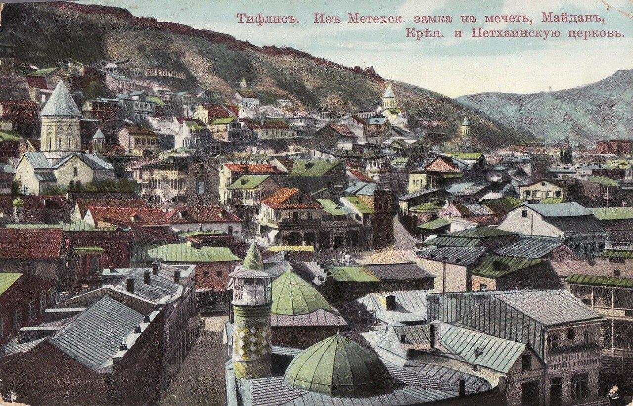 Вид из Метехского замка на мечеть, Майдан, крепость и Цетхаинскую церковь