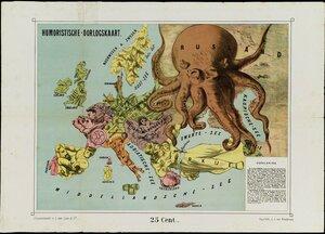 1877. Юмористическая карта Европы. Нидерланды