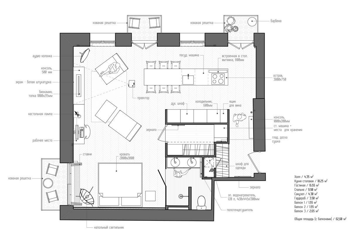 INT2 Architecture, проект интерьера, интерьер квартиры 55 квадратных метров, дизайн небольшой квартиры, дизайн проект квартиры, французская неоклассика