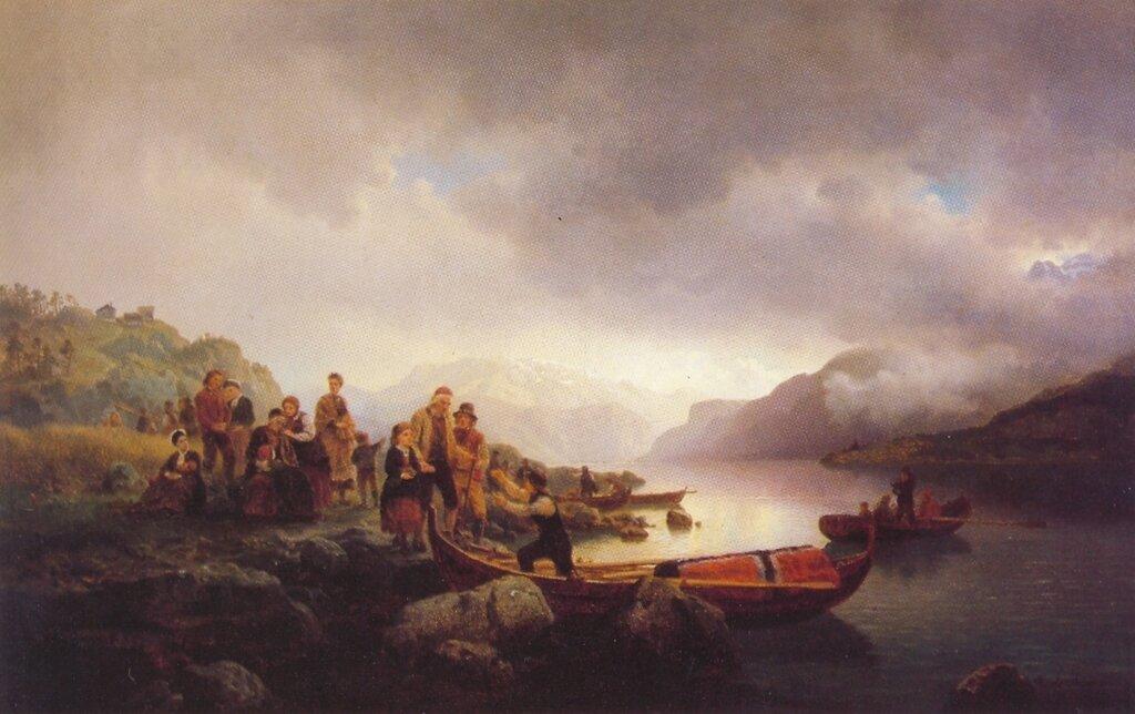 Hans Gude--Likferd Pa Sognefjorden--1853..jpg